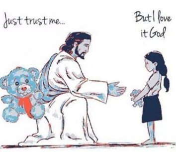 Jesus and little girl with Teddy bears - Just Trust Me